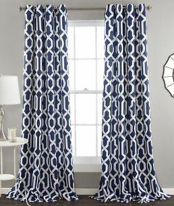 details about set 2 navy blue white geometric trellis curtains panels drapes 84 in l darkening