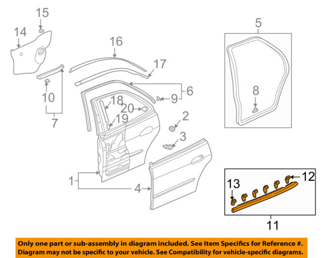 diagram for 2000 honda accord door how to wire a three way dimmer switch oem right rear outer belt moulding window sweep molding weatherstrip 72910s84a01