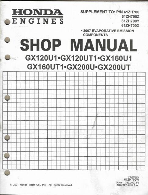 HONDA ENGINES GX120U1 GX120UT1 GX160U1 Supplement P/N
