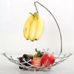 Fruit Basket For Kitchen Art The Banana Holder Hanger Chrome Bowl Storage Organization Decor