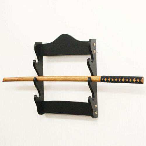 wall mounted 3 tier sword display rack stand holder hanger bracket black samurai collectible knives swords blades armors accessories airstage collectible knife sword blade parts supplies accessories