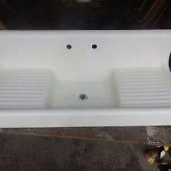 Double Kitchen Sink With Drainboard Industrial Appliances Antique Cast Iron White Porcelain Farm ...