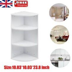 Corner Storage Unit Living Room Blue And Tan Walls Bathroom Wooden 3 Shelves Bedroom White Image Is Loading