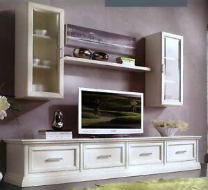 MOBILE BASE PORTA TV PLASMA IN LEGNO LACCATO 4 CASSETTONI x SALA SOGGIORNO 3055  eBay