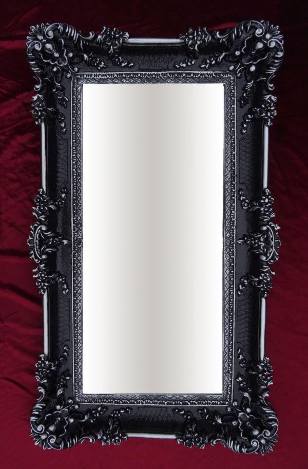Wall Mirror Black Silver 96x57 Antique Baroque