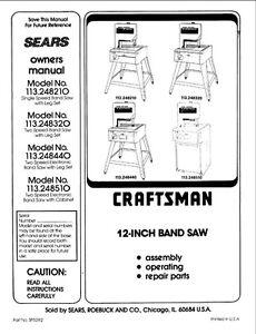 1993 Craftsman 113.248210/248320/248440/248510 12