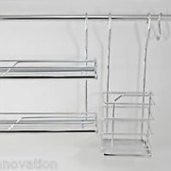 Kitchen Rail System Types Of Countertops Wall Mounted Hanging Railing Image Is Loading Chrome