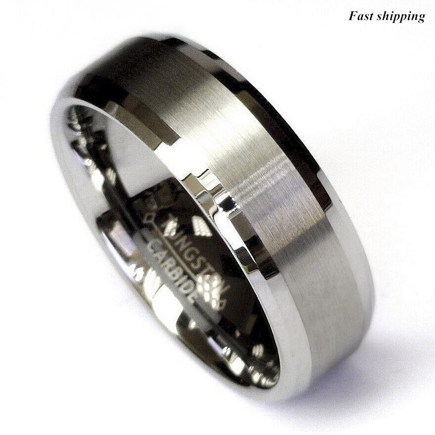 Titanium Color Two Tone Tungsten Carbide Wedding Band Men