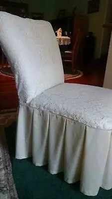 bedroom chair with skirt electric recliner lift perth vanity retro draped pleated lacey look