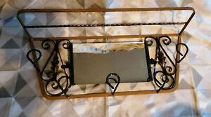 details sur ancien porte manteaux et miroir mural en fer forge couleurs or et noir