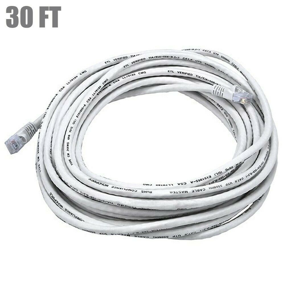 30FT Cat5E RJ45 Ethernet LAN Network UTP Patch Cable