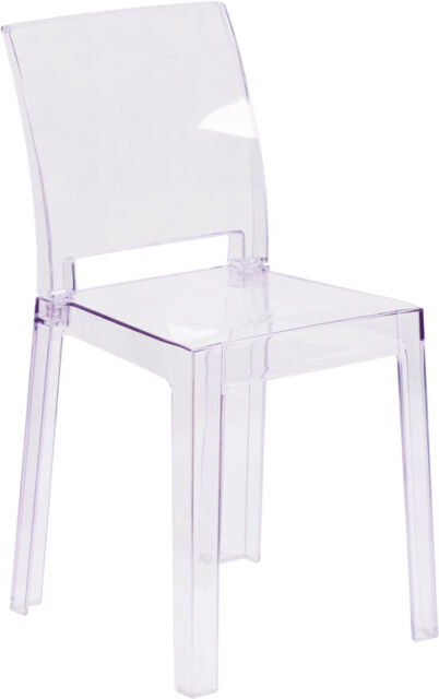 ghost chairs dining italian design flash furniture chair with square back in transparent crystal modern accent