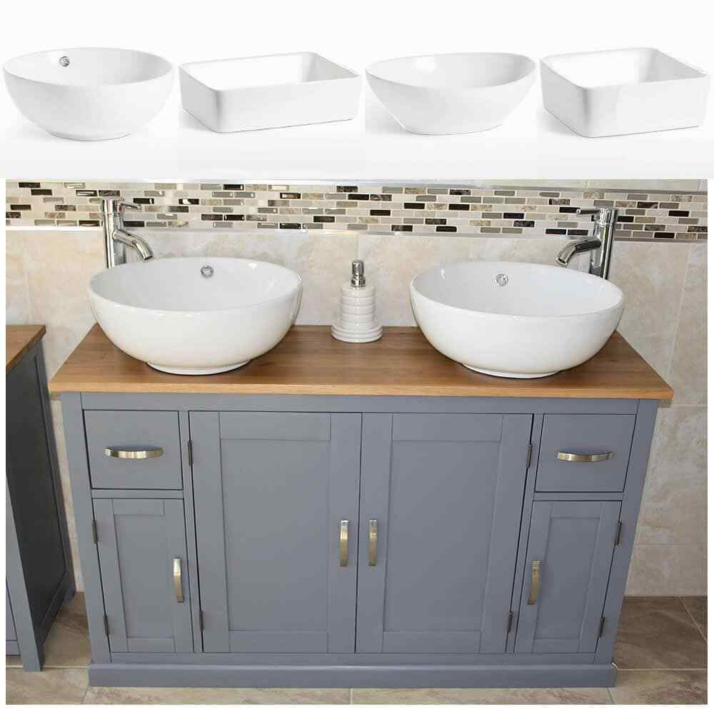 Vanity Unit Cabinet Basin Sink Bathroom Corner Wall Hung Twin Double Bowl 1200 For Sale Ebay