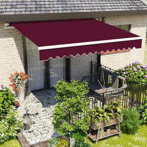 details about 2 5x2m wine red manual awning retractable patio canopy garden sun shade outdoor