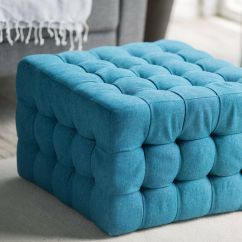Teal Tufted Chair And Stool Set Ottoman Bench Foot Modern Furniture