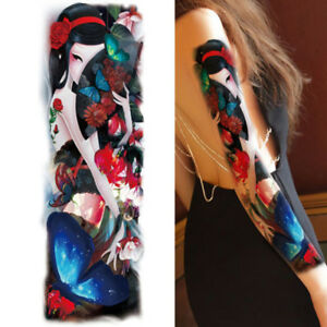 Chinese Women Fan Butterfly Rose Real Big Full Arm Temporary Tattoo