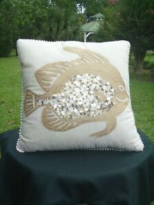 details about pier one 1 imports natural sequins embroidered pearl trim 16 accent pillow