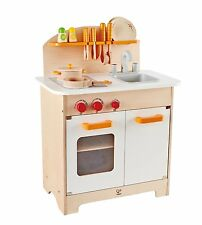 wooden kids kitchen hand painted tiles backsplash gourmet chef cookware set pretend play toy award hape e8116 and