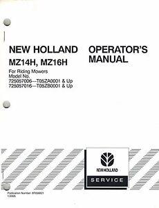 NEW HOLLAND MZ14H & MZ16H RIDING MOWER OPERATOR'S MANUAL