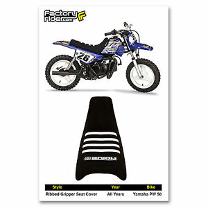 YAMAHA PW 50 PW50 SEAT COVER Ribbed GRIPPER Black/White