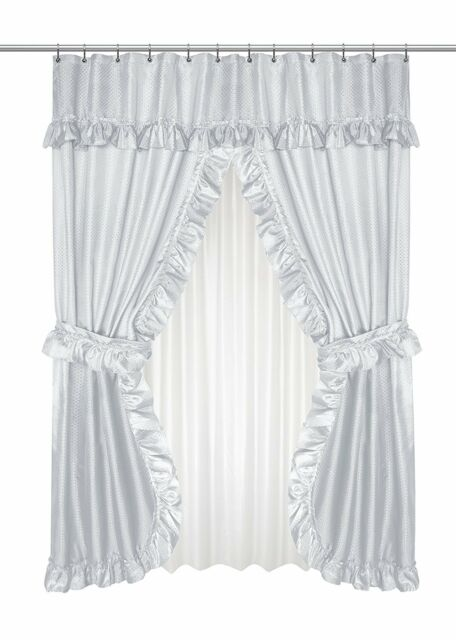 double swag fabric shower curtain set