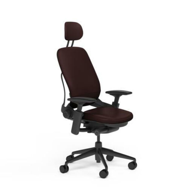 steelcase leap chair indoor rocking cushions sets v2 leather dark grey cyclone adjustable fully office headrest mahogany black frame