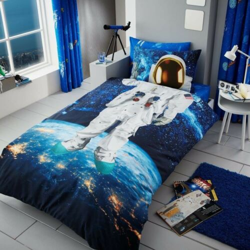 Astronaut Space Man Kids Boys Single Bed Duvet Quilt Cover Bedding Set Blue New Mainlevel At