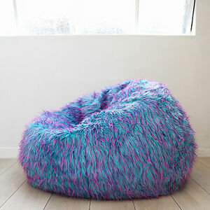 soft bean bag chairs western rocking chair large shaggy fur beanbag cover blue pink cloud image is loading
