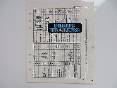 Suzuki Quick Reference Service Manual Data Sheet VS800GLX