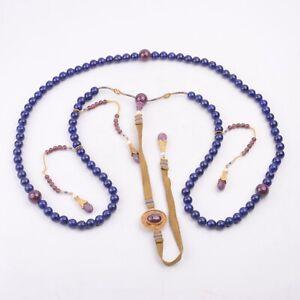 Antique Chinese Lapis Lazuli and Tourmaline Beads Necklace Chaozhu
