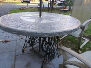 details about circular concrete patio dining table
