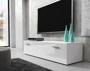 details sur meuble tv armoire bas boston 150 cm corps blanc mat avant blanc brillant