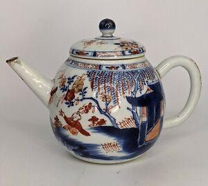 Chinese Antique Porcelain Kangxi Period Imari Teapot - Chickens Qing c18th