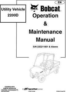 Bobcat Utility Vehicle 2200D Operation Maintenance Manual