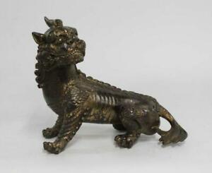 Antique Old Chinese Carved Bronze Statue with Kylin
