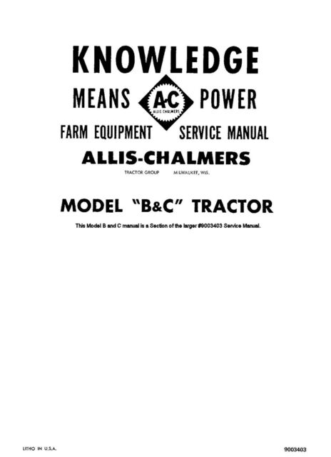 I&T Shop Service ALLIS-CHALMERS Shop Manual Tractor MANY