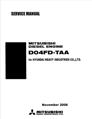 MITSUBISHI DIESEL ENGINE SERVICE MANUAL DO4FD-TAA FOR