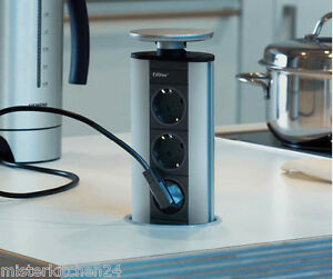 Evoline PowerPort Steckdosenleiste fr Kche 3er Steckdose versenkbar Energiebox  eBay
