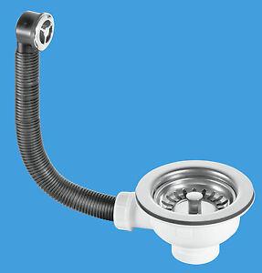 details about mcalpine kitchen sink strainer waste overflow set 113mm flange fits 90mm hole