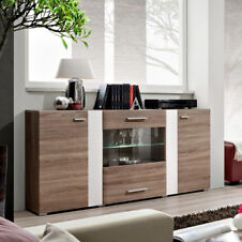 Living Room Buffet Cabinet Shelving Sb Akron Oak Sideboard With 2 Doors Modern Dining Details About