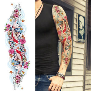 Flower Fish Temporary Tattoos Sleeve For Women Pink Roses Full Arm