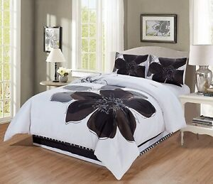 details about 4 pc grey white black hibiscus floral bedding cal king size comforter set