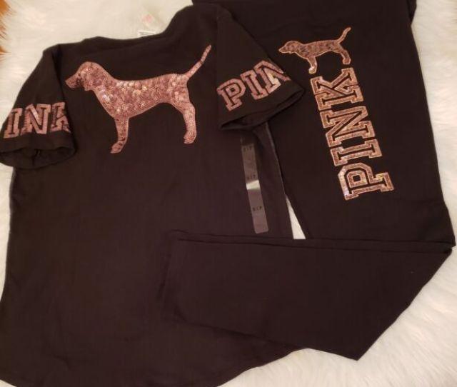 Victorias Secret Pink Rose Gold Dog Set Bling Cotton Yoga Legging V