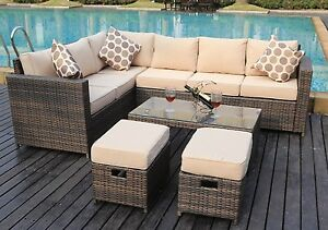 rattan garden corner sofa sets cleaning service west london new conservatory modular 8 seater set image is loading