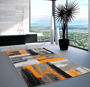 Teppich Modern Designer Wohnzimmer Swing Farbverlauf Orange Grau Schwarz  eBay
