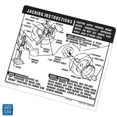 1969-1971 Nova Chevy II Jack Instructions Decal SS GM