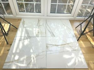 details about top seller calacatta white w grey gold fleck shiny 61x61 porcelain tiles 10m2