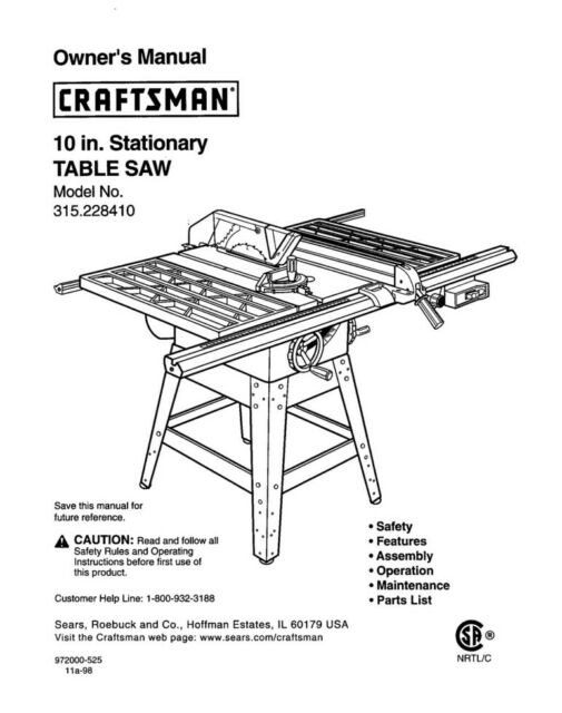 Craftsman 315.228410 Table Saw Owners Instruction Manual