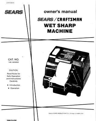 Craftsman 146.669950 Wet Sharp Machine Instruction Manual