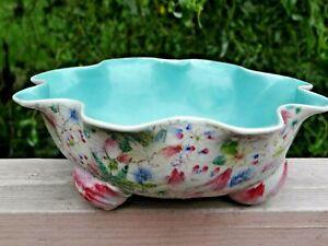 Antique Chinese Famille Rose Porcelain Lotus Form Bowl w/ Lotus Pod & Bud Feet